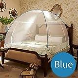 FimQB Moskitonetz feinmaschiges Bettüberdachung Moskitonetzzelte für Doppelbett ciel de lit Faltbares Zeltbett klamboe, Blau, 1,5 m langes Bett