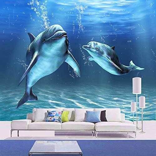 WSKBH Wandbildtapete,Custom Cartoon Dolphin Wandbild Tapete Vlies Betten Zimmer Personalisieren Wandverkleidung Home Decor Fresco-200Cm (H) X 280 cm (W)