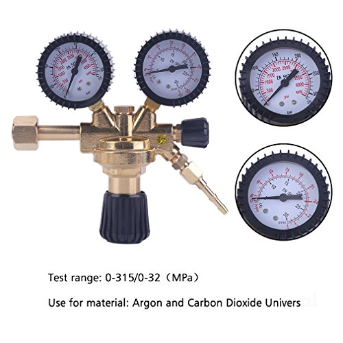 Druckminderer Druckregler Schweißgerät für Schutzgas Argon/CO2 MIG/MAG/WIG/TIG mit Absperrventil universal