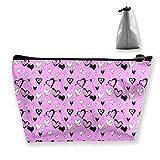 Makeup Bag Cosmetic Pink Heart Love Shape Portable Cosmetic Bag Mobile Trapezoidal Storage Bag...