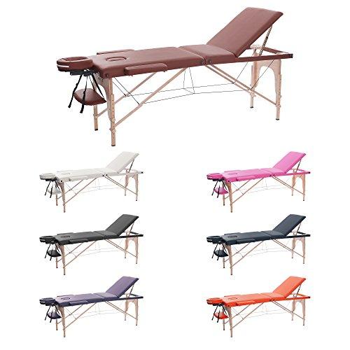 H-ROOT Mesa de Masaje de 3 Secciones Ligera Portátil Camilla de Masaje Mesa Terapeuta Tatoo Salón de Belleza Reiki Sanación Masaje Sueco (186cm x 60cm x 62cmCM, Vino tinto)