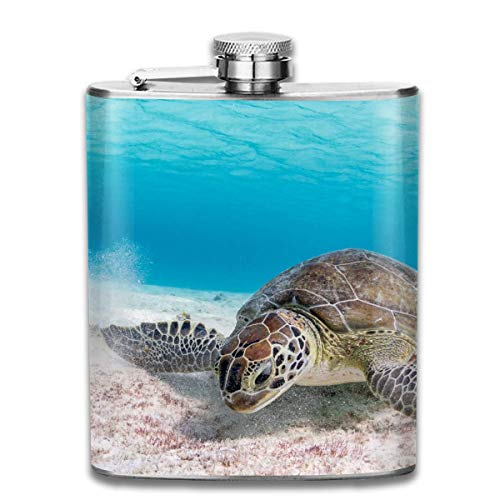 Turtle Great Coral Reef Fashion Portable Stainless Steel Hip Flask Whiskey Bottle for Men and Women 7 Oz Womens Coral Reef