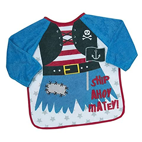 Babytown Terry Bib with Sleeves Blue Pirate