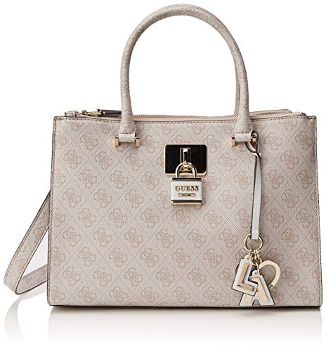 Guess Downtown Cool Status Satchel, Borsa a Mano Donna, Multicolore (Stone), 32.5x23x13 cm (W x H x L)