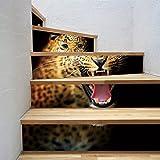 Home Arts Treppen Wandaufkleber Abziehbilder Abnehmbare Selbstklebende Leopard PVC Wasserdichte Treppe Tapete Für Wohnzimmer Dekoration 6 Teile/Satz