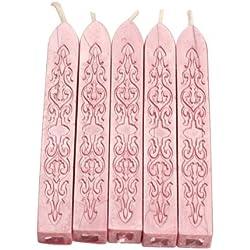 Aeromdale - Lote de 5 sellos de cera de mecha clásica, diseño de letra inicial para boda, color rosa