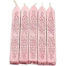 SODIAL(R)5pzs Palillo de cera de sellado cuadrada de estilo de velas unico Sellos de cera con mecha (Rosado)