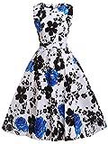 FAIRY COUPLE 50s Retro Blumen Cocktail Schwingen Party Kleid mit Bogen DRT017(M,Weiß Blau Floral)