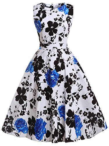 FAIRY COUPLE 50s Retro Blumen Cocktail Schwingen Party Kleid mit Bogen DRT017(2XL,Weiß Blau Floral)
