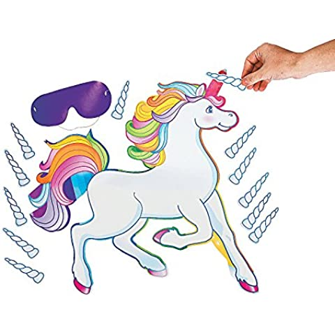 Fun Express Pin The Horn On The Unicorn Party Game - Game Party Pin