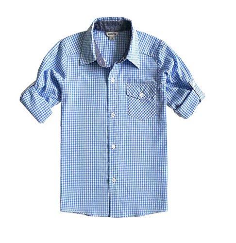Bienzoe ragazzi cotone plaid roll up camicie azzurro 11/12