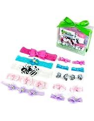 Bundle Monster Ensemble Bandeaux 15en1 interchangeable avec barrette boucle ruban dentelle grosgrain multicolore design varié pour bébé fille ou bambin- zébré ou à pois