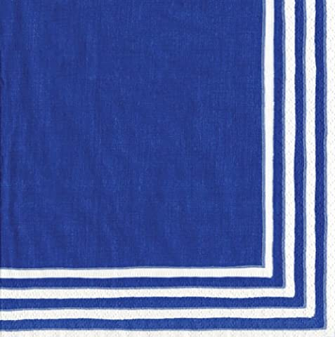 Caspari Stripe Border Paper Cocktail Napkins, Pack of 20, Blue