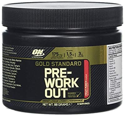 Optimum Nutrition Gold Standard Pre-Workout, Fruit Punch, 8 Serve Tub