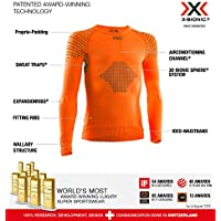 X-Bionic Invent 4.0 Shirt Round Neck Long Sleeves Junior Capa De Base Camiseta Funcional, Unisex niños, Sunset Orange/Anthracite, 8/9