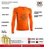 X-Bionic Invent 4.0 Round Neck Long Sleeves, Strato Base Camicia Funzionale Unisex Bambini, Sunset Orange/Anthracite, L