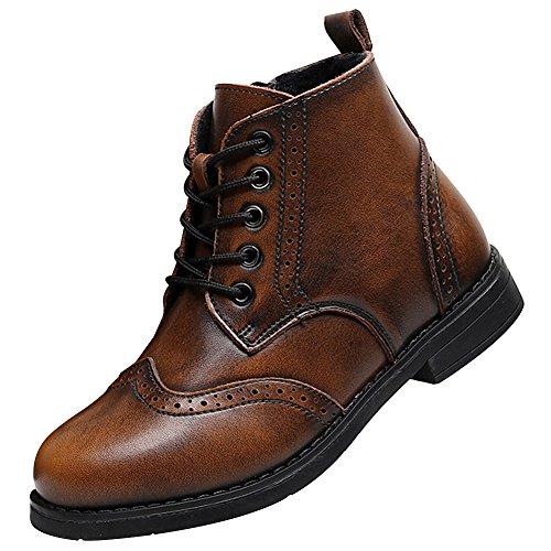 Rismart ragazzi bambini brogues caviglia alto vestito inverno diviso pelle stivali sn031011(marrone,eu36)