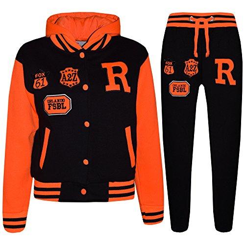 A2Z 4 Kids® Kinder Mädchen Jungen Baseball Trainingsanzug NYC FOX - T.S Baseball FOX Black & N. Orange 13