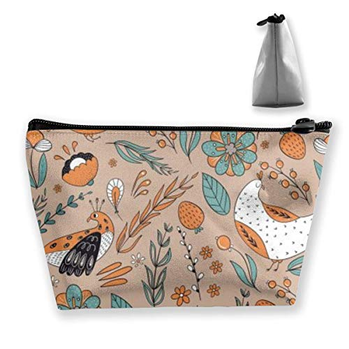 Pattern Cartoon Leave Chicken Womens Travel Cosmetic Bag Portable Toiletry Brush Storage Print Pen Pencil Bags Accessories Sewing Kit Pouch Makeup Carry Case
