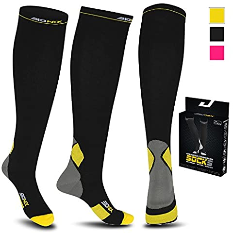 Compression Socks For Men and Women - 20-30mmhg Best Graduated Athletic Fit for Running, Shin Splints, Varicose veins, Maternity Pregnancy, Flight Travel, Nurses Work. Boost Performance, Anti Fatigue, Recover Faster (L/XL (Women 5.5-13 / Men 7-13.5) PAIR, Black & Yellow)