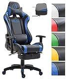 CLP Bürostuhl JARAMA mit Kunstlederbezug, Max. belastbar bis 136 kg, Gaming Stuhl, Gaming Chefsessel mit/Ohne Fußablage, Wippmechanismus, Schwarz/Blau, mit Fußablage