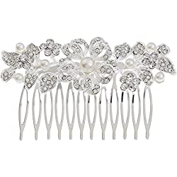 Dosige Blumen Diadem mit Kamm Kopfschmuck Diadem Kamm Haarnadel für Damen oder Mädchen für Hochzeit, Brautjungfern, Kommunion, Konfirmation