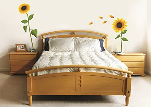 Sticker für Wand – Wandtatoos für Kinderzimmer, Wohnzimmer, Schlafzimmer, Babyzimmer - Wanddeko Modern – 1 X 70x50cm Wandsticker Deko Set Folien Sonnenblume