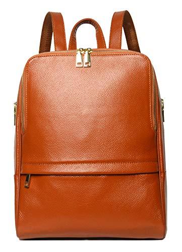 COOLCY Damen Heiße Art reale echtes Leder-Rucksack Fashion Bag Einheitsgröße Dunkelbraun