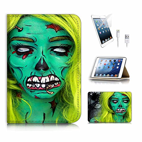 (für iPad Mini 123, Generation 1/2/3) Flip Wallet Schutzhülle & Displayschutzfolie & Ladekabel Bundle. A4029Zombie (Girl Zombie)