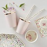 Ginger Ray 8 Gobelets en Carton Rose Gold Floral 26 cl