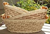 Rt450110 3: Wicker/Rattan Bread Or Storage Curve Pole Handle Baskets In Cream And Sand