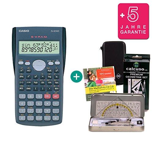 Casio Streberpaket FX-82 MS + Schutztasche + Lern-CD (auf Deutsch) + Geometrie-Set + Erweiterte Garantie