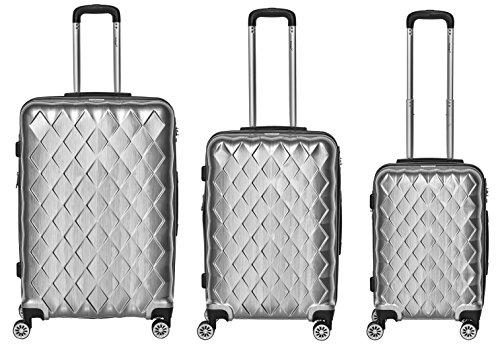 Hartschalen Polycarbonat Koffer 'Atlantic' 3er-Set (Größen M, L & XL) (Silber)