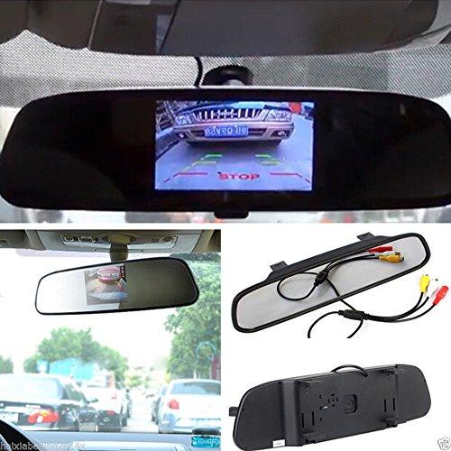 "ROGUCI 4.3 Zoll Farbe TFT Rückspiegel Monitor mit IP67 Wasserdichte HD CCD 2 LED Fahrzeug Rückfahrsperre Reverse Backup Kameras Nachtsicht 170 ° Betrachtungswinkel Rückfahrkamera Kit Für Auto (4.3"" Spiegel)"