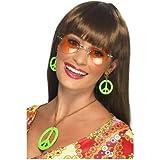 Halskette mit Ohrringen Set, Neon Farben in Hippie Style