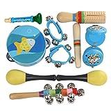 Laileya 11pcs Kinder Lustige Musikinstrumente Spielzeug f¨¹r Kinder Vorschulmusikspielzeug Set Junge M?dchen Rattle Handbell