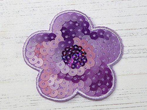 Minerva Crafts Pailletten Blume Gesticktes Eisen auf Motiv Aufnäher, Lila, jeweils -