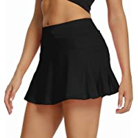 pudu Women Girls Athletic Tennis Golf Skirts with Shorts Pockets Pleated Workout Sports Mini Skater Skirts