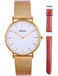 65eab01d1f5d ABUSA Reloj de Hombre y Mujer Classic lujo Business Casual Relojes  Analógico de Cuarzo con malla