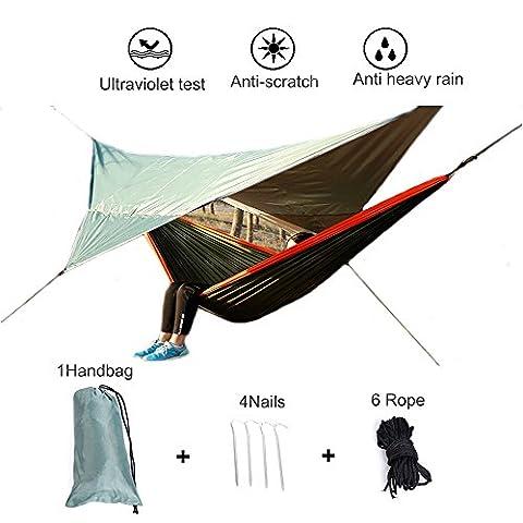 Hamac Camping Sun Ultra Léger Abri Haute Résistance pour Camping Jardin Voyage Tactique (Vert militaire)