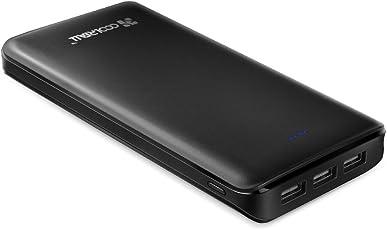 CoolReall Powerbank 20000mAh 3 USB Ports externer Akku mit LED-Statusanzeige, für iPhone, iPad, Samsung, Smartphone, Tablette, usw. (Schwarz)
