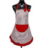 StillCool Delantal de cocina,Delantal Impermeable del Cocinero con Bolsillo para mujer,color rojo