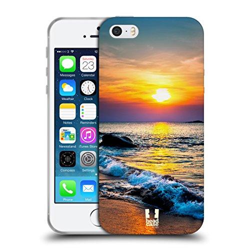 Head Case Designs Tropischer Sandstrand Wundevolle Strände Soft Gel Hülle für Apple iPhone 4 / 4S Farbiger Sonnenuntergang Über Dem Meer