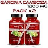 Garcinia Cambogia Pure 1800MG Phytobiol (Pack x2) - Teneur maximale et AHC 60% - 120 Capsules Traitement Minceur...