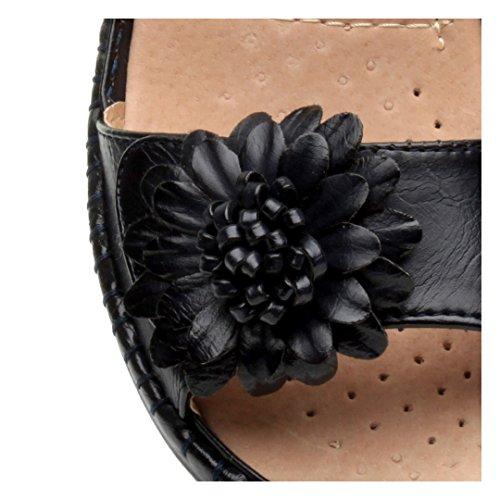 7579a80ce935a8 ... Femmes velcro strappy une fleur confortables décontractées sandales  pointure Bleu Marine