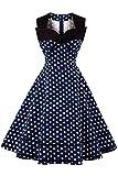 Axoe Damen Polka Dots 60er Jahre Kleid Rockabilly Armellos Navy Gr.38