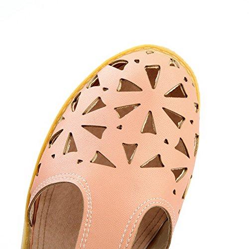 VogueZone009 Damen Schließen Zehe Niedriger Absatz Weiches Material Rein Sandalen Pink