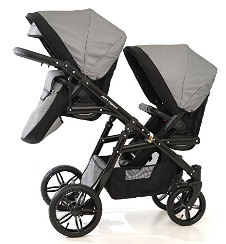 Double pram for twins. 2 buggies + 2 car seats. Grey. BBtwin Berber Carlo Directly from the factory, warranty and advice. Made un the EU according to the regulations EN1888 and ECE44/04. Colour grey. Includes 2 buggy seats, 2 car seats, bag, 2 footcovers, 2 rain covers, 2 mosquito nets, lower basket, Features: lightweight aluminium frame, easy bending, adjustable handlebar, central brake, lockable front swivel wheels, shock absorbers, each buggy can be instaled independently in both directions, carrycots with a mattress and a washable cover, backrest adjustable in various positions, safety bar and harness of 5 points 2