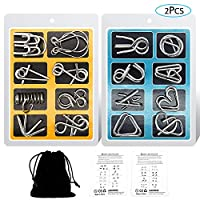 YGZN Metal Wire Puzzle Set of 16 with Pouch,IQ Test Mind Game Brain Teaser Magic Trick Toy for Kids and Adults (Blue-Yellow)