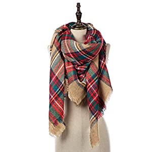 Natural Feelings Stilvolle Winter Warm Großer Tartan Decke Plaid Schal Wrap Schal